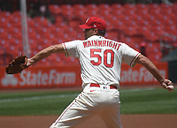 25th July 2020, St Louis, MO, USA;  St. Louis Cardinals pitcher Adam Wainwright (50) pitches during a Major League Baseball game between the Pittsburgh Pirates and the St. Louis Cardinals