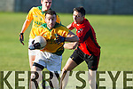 Fintan Coffey Fossa in action against Gavin O'Connor Castlegregory in the relegation playoff in the Kerry county football league.