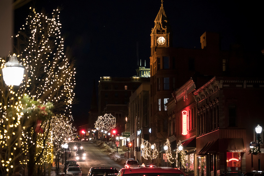 Downtown Marquette, Michigan at night in early winter.