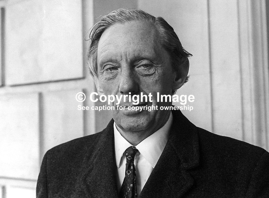 Herbert Heslip, Ulster, Unionist, South Down, member, N Ireland Assembly, October 1973, 197310000650HH<br /> <br /> Copyright Image from Victor Patterson, 54 Dorchester Park, <br /> Belfast, UK, BT9 6RJ<br /> <br /> t1: +44 28 9066 1296 (from Rep of Ireland 048 9066 1296)<br /> t2: +44 28 9002 2446 (from Rep of Ireland 048 9002 2446)<br /> m: +44 7802 353836<br /> <br /> e1: victorpatterson@me.com<br /> e2: victorpatterson@gmail.com<br /> <br /> www.victorpatterson.com<br /> <br /> Please see my Terms and Conditions of Use at VICTORPATTERSON.COM. It is IMPORTANT that you familiarise yourself with them.<br /> <br /> Images used on the Internet must be visibly watermarked i.e. &copy;VICTORPATTERSON.COM within the body of the image and copyright metadata must not be deleted. Images used on the Internet have a size restriction of 4kbs and are chargeable at the then current NUJ rates.<br /> <br /> This image is only available for the use of the download recipient i.e. television station, newspaper, magazine, book publisher, etc, and must not be passed on to any third party. It is also downloaded on condition that each and every usage is notified within 7 days to victorpatterson@me.com<br /> <br /> The right of Victor Patterson to be identified as the author is asserted in accordance with The Copyright Designs And Patents Act (1988).