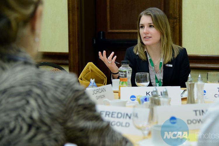 Kelli Hamilton speaks during the Division III Presidents Council/Management Council/Student Athlete Advisory Committee joint breakfast during the 2013 NCAA Convention at the the Gaylord Texan Hotel in Grapevine, TX, Thursday, January 17, 2013. (Peter Lockley/NCAA Photos)