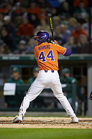 Bryar Hawkins (44) of the Clemson Tigers at bat against the Charlotte 49ers at BB&T BallPark on March 26, 2019 in Charlotte, North Carolina. The Tigers defeated the 49ers 8-5. (Brian Westerholt/Four Seam Images)