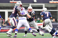 Sunday, October 2, 2016: New England Patriots tight end Rob Gronkowski (87) and tight end Martellus Bennett (88) block Buffalo Bills running back LeSean McCoy (25) for quarterback Jacoby Brissett (7) during the NFL game between the Buffalo Bills and the New England Patriots held at Gillette Stadium in Foxborough Massachusetts. Buffalo defeats New England 16-0. Eric Canha/Cal Sport Media