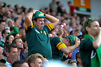 A South Africa fan in the crowd looks dejected. Rugby World Cup Pool B match between South Africa and Japan on September 19, 2015 at the Brighton Community Stadium in Brighton, England. Photo by: Patrick Khachfe / Onside Images