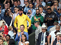LONDON, ENGLAND - JULY 10: Rapper Drake attends and cheers on Serena Williams day eight of the Wimbledon Tennis Championships at the All England Lawn Tennis and Croquet Club on July 10, 2018 in London, England.<br /> CAP/MPI122<br /> &copy;MPI122/Capital Pictures