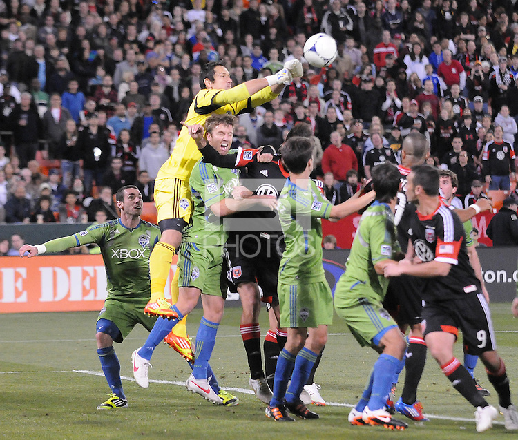 Seattle Sounder goalkeeper Michael Gspurning (1) goes up to save the play.  D.C. United tied The Seattle Sounders 0-0 at RFK Stadium, Saturday April 7 , 2012.