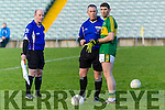 Killian Young Kerry Captain with ref Alan Kissane Kerry v   Limerick in the Final of the McGrath Cup at the Gaelic Grounds on Sunday.