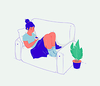 Tired young woman relaxing with cup of tea on sofa