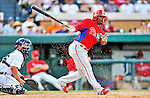 9 March 2012: Philadelphia Phillies infielder Michael Martinez in action during a Spring Training game against the Detroit Tigers at Joker Marchant Stadium in Lakeland, Florida. The Phillies defeated the Tigers 7-5 in Grapefruit League action. Mandatory Credit: Ed Wolfstein Photo