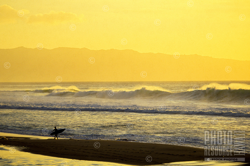 Surfer at sunset walking along Ehukai Beach with his surfboard fronting the Banzai Pipeline shore break, north shore of Oahu