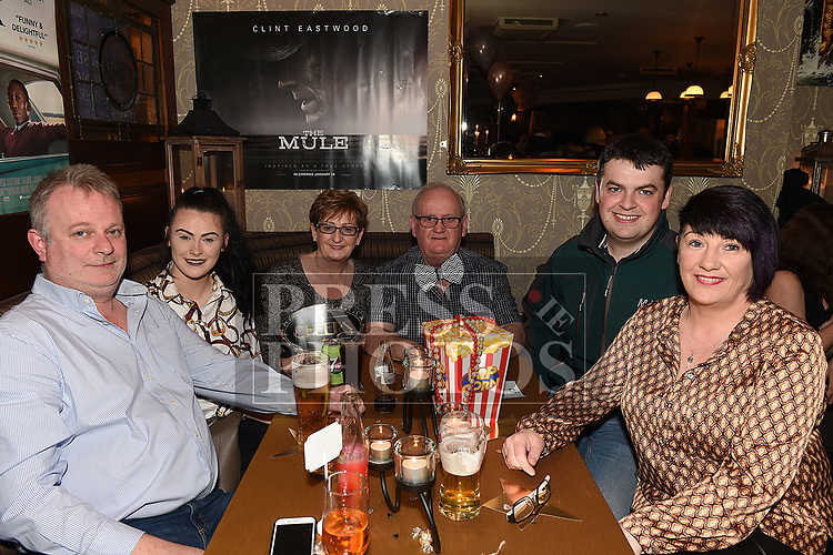 Robbie Patterson, Michelle O'Malley Patterson, Mary and James carolan, Shane Crannery, and Karina O'Malley of Nobber Vintage Club at the Oscars fancy dress party in Watters of Collonin aid of the Gary Kelly Cancer Support Centre.  Photo:Colin Bell/pressphotos.ie