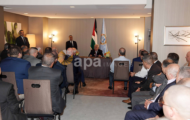 Palestinian President Mahmoud Abbas, meets with the Palestinian Community in New York, United States on September 22, 2019. Photo by Thaer Ganaim