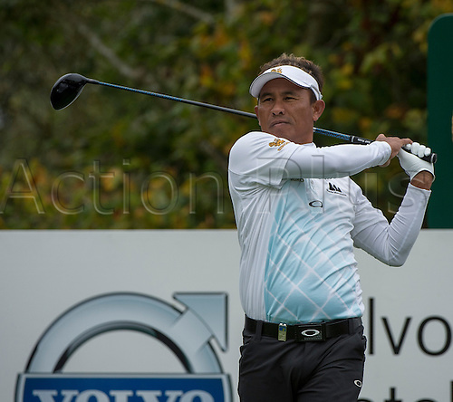 15.10.2014. The London Golf Club, Ash, England. The Volvo World Match Play Golf Championship.  Day 1 group stage matches.  Thongchai Jaidee [THI] tee shot on the seventeenth.