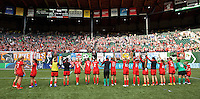 Portland, Oregon - Sunday September 4, 2016: The Thorns salute their supporters during a regular season National Women's Soccer League (NWSL) match at Providence Park.