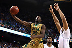 13 March 2015: Notre Dame's Jerian Grant (22) and Duke's Jahlil Okafor (15). The Notre Dame Fighting Irish played the Duke University Blue Devils in an NCAA Division I Men's basketball game at the Greensboro Coliseum in Greensboro, North Carolina in the ACC Men's Basketball Tournament semifinal game. Notre Dame won the game 74-64.