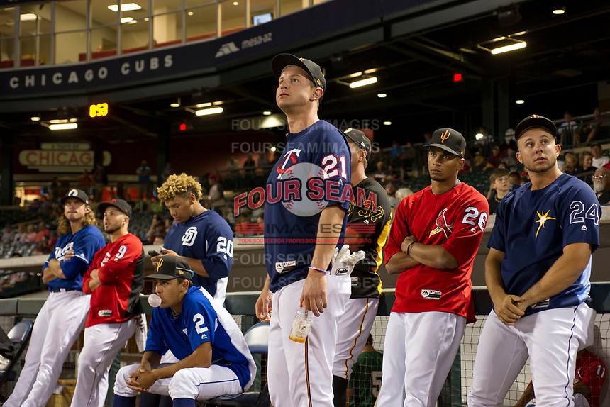 Chris Paul (21), of the Surprise Saguaros and the Minnesota Twins organization, watches another contestant during the Arizona Fall League Bowman Hitting Challenge on October 21, 2017 at Sloan Park in Mesa, Arizona. Chris Paul, of the Minnesota Twins organization, won the American League trophy while Tomas Nido (not shown) won the National League trophy. (Zachary Lucy/Four Seam Images)