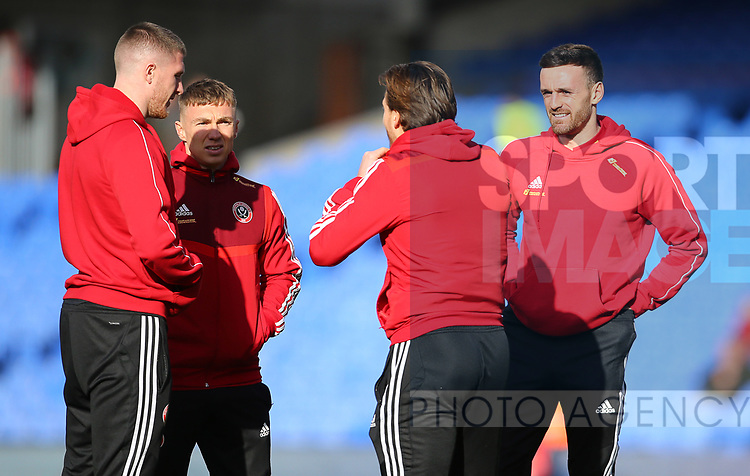 Sheffield United's Ben Osborn and Sheffield United's Jack Robinson during the Premier League match at Selhurst Park, London. Picture date: 1st February 2020. Picture credit should read: Paul Terry/Sportimage