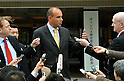 April 20, 2012, Tokyo, Japan - Michael Woodford, center, former president and CEO of Japans Olympus Corp., gives his comments to the media upon his arrival at a Tokyo hotel where the camera maker holds an extraordinary meeting of its shareholders on Friday, April 20, 2012. .The scandal-tainted company is expected to face investor backlash over its nominees for the board of directors. The meeting came as Olympus attempted to rebuild its reputation following a $1.7 billion cover-up scandal, which sparked lawsuits and the arrest of company executives. (Photo by Natsuki Sakai/AFLO) AYF -mis-.