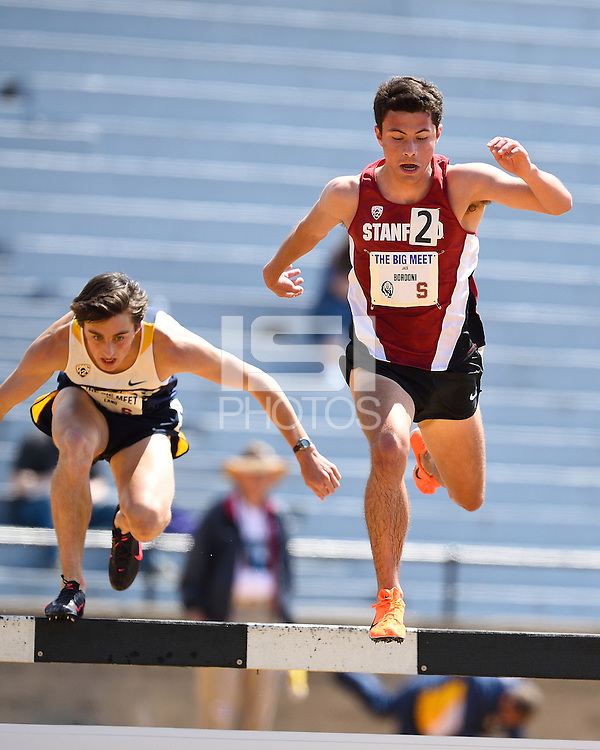 STANFORD, CA - April 12, 2014.  Stanford University Track & Field competes against Cal at the 120th Big Meet at Edwards Stadium on the UC Berkeley campus in Berkeley, California.