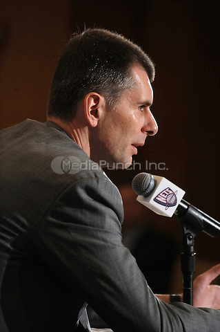 New Jersey Nets owner, Mikhail Prokhorov, speaks with the media during a press conference at the Four Seasons Hotel in New York City. May 19, 2010.Credit: Dennis Van Tine/MediaPunch