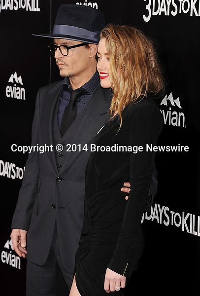 Pictured: Johnny Depp; Amber Heard<br /> Mandatory Credit &copy; Joseph Gotfriedy/Broadimage<br /> &quot;3 Days To Kill&quot; - Los Angeles Premiere<br /> <br /> 2/12/14, Hollywood, California, United States of America<br /> <br /> Broadimage Newswire<br /> Los Angeles 1+  (310) 301-1027<br /> New York      1+  (646) 827-9134<br /> sales@broadimage.com<br /> http://www.broadimage.com