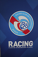 Logo von Racing Straßburg - 22.08.2019: Racing Straßburg vs. Eintracht Frankfurt, UEFA Europa League, Qualifikation, Commerzbank Arena<br /> DISCLAIMER: DFL regulations prohibit any use of photographs as image sequences and/or quasi-video.