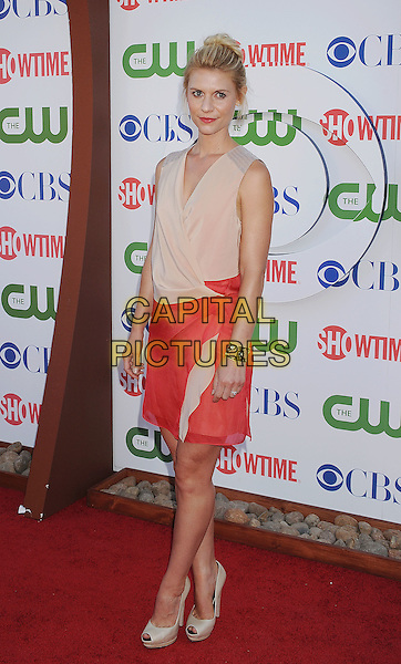 Claire Danes.CBS, CW and Showtime Summer 2011 TCA Party held at The Pagoda, Beverly Hills, California, USA..August 3rd, 2011.full length beige cream pink dress wrap sleeveless .CAP/ROT/TM.©Tony Michaels/Roth Stock/Capital Pictures