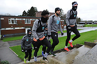 (L-R) Nathan Dyer, Cameron Carter-Vickers and Oli McBurnie of Swansea City walk out during the Swansea City Training at The Fairwood Training Ground, Swansea, Wales, UK. Tuesday 22 January 2019