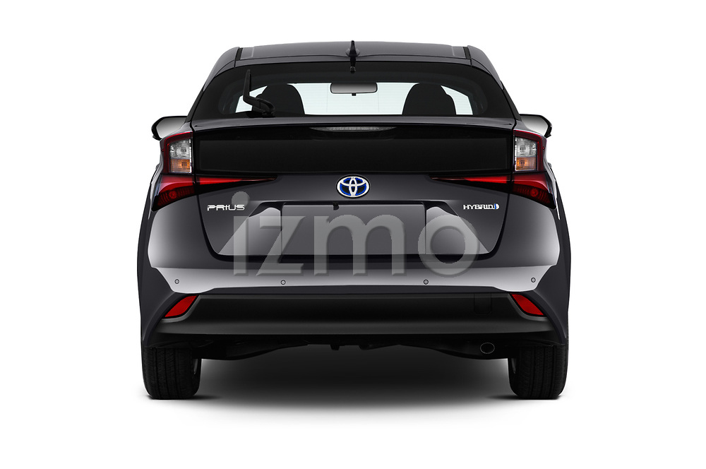 Straight rear view of 2019 Toyota Prius LE 5 Door Hatchback Rear View  stock images
