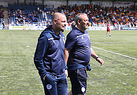Queen of the South Manager Allan Johnston (left) and Assistant Manager Sandy Clark before the SPFL Betfred League Cup group match between Queen of the South and Motherwell at Palmerston Park, Dumfries on 13.7.19.