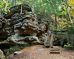 A Cliff Face And Wooden Stairs In Autumn At Ash Cave In The Hocking Hills Region Of Central Ohio, USA