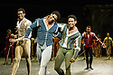 London, UK. 10.06.2014. Tamara Rojo and Carlos Acosta, from English National Ballet, in dress rehearsal for ROMEO AND JULIET, in the round, in the Royal Albert Hall. Picture shows: Carlos Acosta (Romeo - centre), Junor Souza (Benvolio - left) and Yonah Acosta (Mercutio - right). Photograph © jane Hobson.