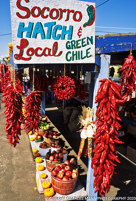 In fall the chile crop comes in and colorful fruit stands apper up and down the Espanola valley featuring  chiles from Hatch and other New eExico growing areas.