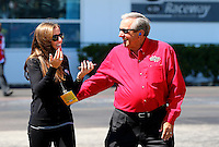 Mar 14, 2014; Gainesville, FL, USA; NHRA team owner Don Schumacher (right) with daughter Megan Fessel during qualifying for the Gatornationals at Gainesville Raceway Mandatory Credit: Mark J. Rebilas-USA TODAY Sports