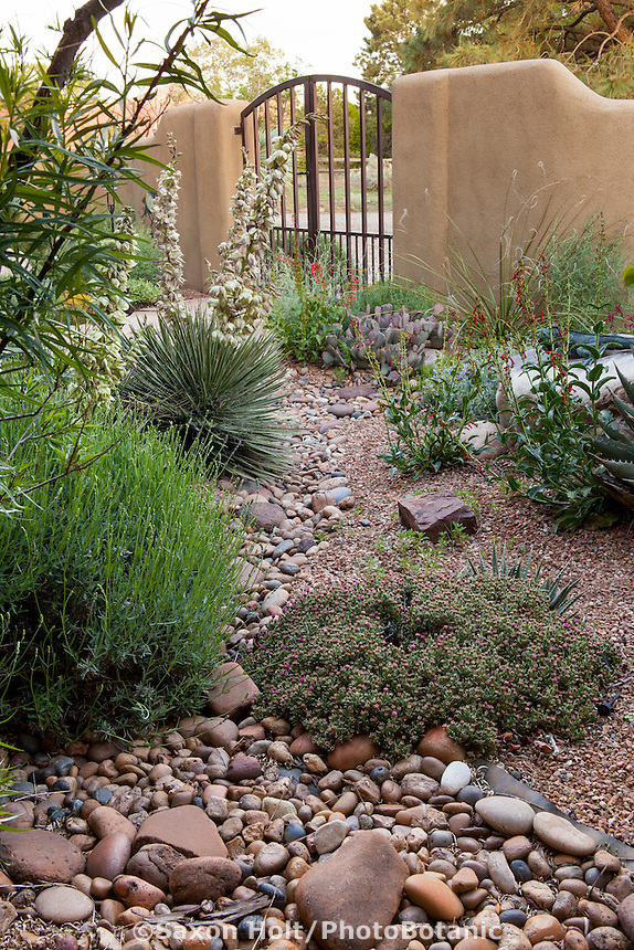 Dry stream bed inside gate to David Salman New Mexico xeric courtyard garden