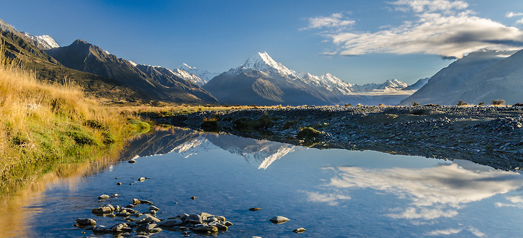 Early morning light Aoraki / Mt Cook and the Tasman River, Mckenzie Country, Canterbury, New Zealand - stock photo, canvas, fine art print
