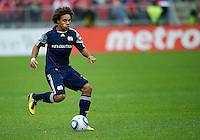 22 May 2010: New England Revolution defender Kevin Alston #30 in action during a game between the New England Revolution and Toronto FC at BMO Field in Toronto..Toronto FC won 1-0.....