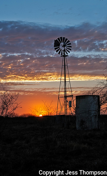 Windmill at Sunrise, Goliad, Texas