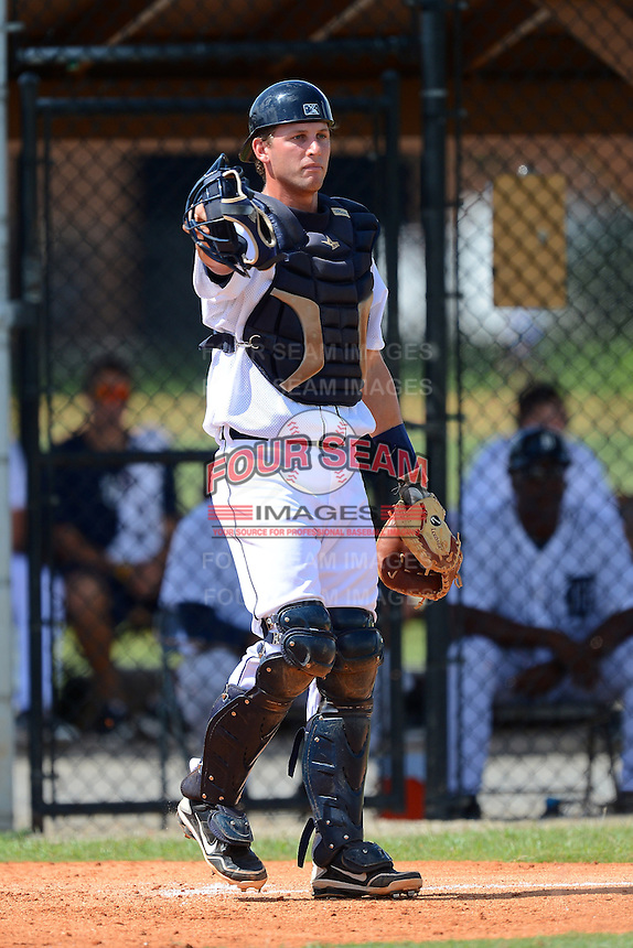 GCL Tigers catcher Drew Longley (19) during a game against the GCL Phillies on July 16, 2013 at Tiger Town in Lakeland, Florida.  GCL Tigers defeated GCL Phillies 8-6.  (Mike Janes/Four Seam Images)