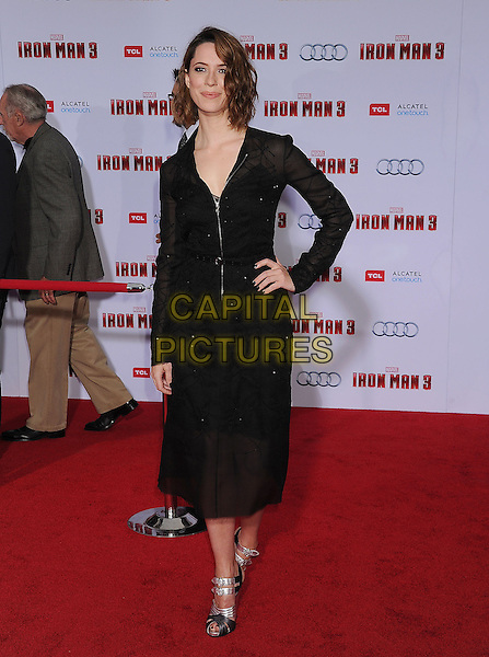 "Rebecca Hall.The Los Angeles Premiere of ""Iron Man 3"" at El Capitan Theatre in Hollywood, California, USA..April 24th, 2013.full length black dress hand on hip sheer zip zipper silver sandals shoes .CAP/ROT/TM.©Tony Michaels/Roth Stock/Capital Pictures"