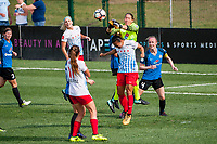 Kansas City, MO - Saturday September 9, 2017: Nicole Barnhart, Yuki Nagasato, Becky Sauerbrunn during a regular season National Women's Soccer League (NWSL) match between FC Kansas City and the Chicago Red Stars at Children's Mercy Victory Field.