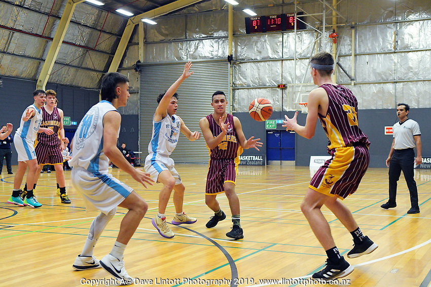 Action from the 2019 Schick AA Boys' Secondary Schools Basketball Premiership National Championship match between St Patrick's College Silverstream and Cashmere High School at the Central Energy Trust Arena in Palmerston North, New Zealand on Monday, 30 September 2019. Photo: Dave Lintott / lintottphoto.co.nz