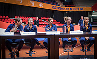 Den Bosch, The Netherlands, Februari 8, 2019,  Maaspoort , FedCup  Netherlands - Canada, Draw, Dutch team ltr: Captain Paul Haarhuis, Bibiane Schoofs, Demi Schuurs, Richel Hogenkamp and Atantxa Rus. <br /> Photo: Tennisimages/Henk Koster