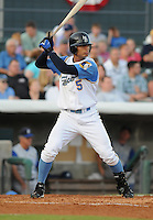 July 7, 2008: Outfielder Gorkys Hernandez (5) of the Myrtle Beach Pelicans, Class A affiliate of the Atlanta Braves, in a game against the Wilmington Blue Rocks at BB&T Coastal Field in Myrtle Beach, S.C. Photo by:  Tom Priddy/Four Seam Image