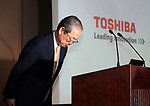 May 15, 2017, Tokyo, Japan - Japan's electronics giant Toshiba president Satoshi Tsunakawa bows his head as he announces the company's financial result ended March 31 at the Toshiba headquarters in Tokyo on Monday, May 15, 2017. Toshiba estimated net loss of 950 billion yen and 540 billion yen negative net worth at the end of March.   (Photo by Yoshio Tsunoda/AFLO) LwX -ytd-