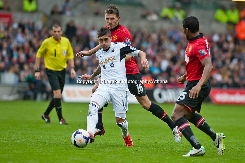 Saturday 17 August 2013<br /> <br /> Pictured: Pablo Hernandez of Swansea<br /> <br /> Re: Barclays Premier League Swansea City v Manchester United at the Liberty Stadium, Swansea, Wales