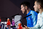 Atletico de Madrid coach Diego Pablo Simeone and Lucas Hernandez during press conference the day before UEFA Champions League match between Atletico de Madrid and Borussia Dortmund at Wanda Metropolitano in Madrid, Spain.November 05, 2018. (ALTERPHOTOS/Borja B.Hojas)