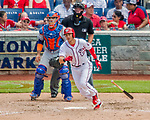 30 April 2017: Washington Nationals infielder Trea Turner doubles in the 5th inning against the New York Mets at Nationals Park in Washington, DC. The Nationals defeated the Mets 23-5, with the Nationals setting several individual and team records, in the third game of their weekend series. Mandatory Credit: Ed Wolfstein Photo *** RAW (NEF) Image File Available ***