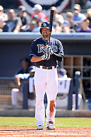 Tampa Bay Rays outfielder David DeJesus (7) during a spring training game against the Minnesota Twins on March 2, 2014 at Charlotte Sports Park in Port Charlotte, Florida.  Tampa Bay defeated Minnesota 6-3.  (Mike Janes/Four Seam Images)