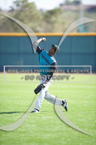Mariano Poll, Jr. (1) of James Monroe Campus High School in Bronx, New York during the Under Armour All-American Pre-Season Tournament presented by Baseball Factory on January 14, 2017 at Sloan Park in Mesa, Arizona.  (Mike Janes/Mike Janes Photography)